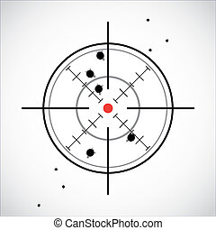 crosshair with red dot and fired shots