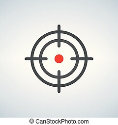 crosshair with red dot icon, vector illustration isolated on white background.