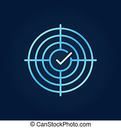 Crosshair with tick vector blue outline icon - Crosshair...