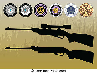 Crosshairs, targets vector background concept with rifle silhouette for poster