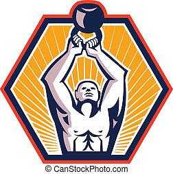 Crossift Athlete Lifting Kettlebell Front Retro - ...