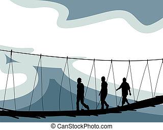 crossing bridge composition, abstract vector art illustration