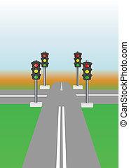 Crossing. - Adjustable, light signal, crossroads, on color...