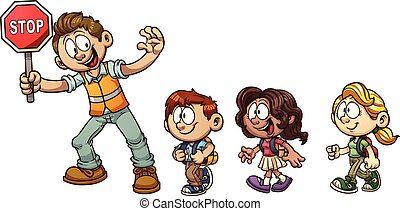 Crossing guard helping kids cross the street. Vector clip art illustration with simple gradients. Each on a separate layer. STOP text on a different layer than the sign.