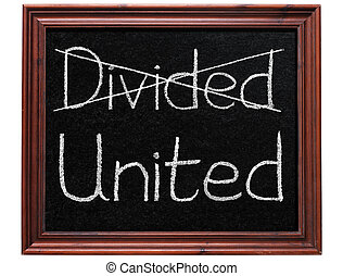 Crossing out divided and writing united.