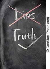 Crossing out lies and choosing truth on a blackboard