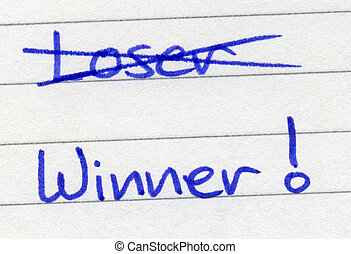 Crossing out loser and writing winner.
