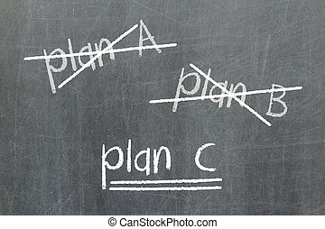 Crossing out Plan A and Plan B and writing Plan C