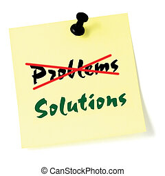 Crossing out problems, writing solutions sticky note, yellow