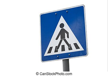 Crossing - Pedestrian crossing traffic sign isolated on...