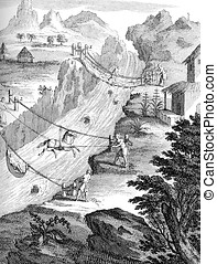 crossing rivers in Andes region, old print - Year 1751...