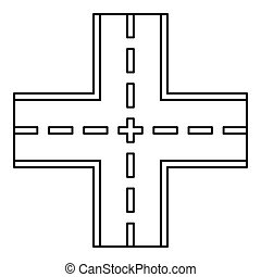 Crossing road icon, outline style