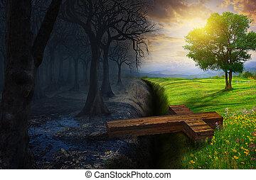 Crossing the gap - A cross bridges the gap between a dead...