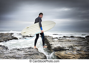 Crossing the Rocks to Surf