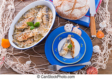 crossly, 鑲嵌, 油煎, 鯡魚
