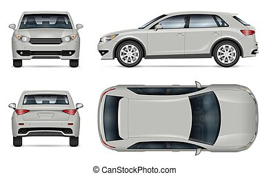 Crossover vector mockup. Isolated vehicle template side, front, back, top view