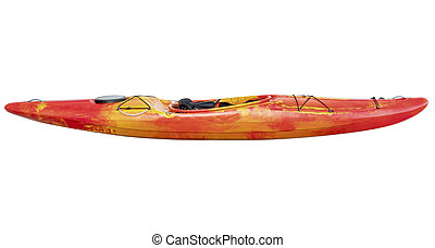 crossover whitewater kayak isolated - side view of crossover...