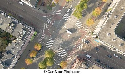 Crossroad crossing aerial view in Amsterdam traffic intersection
