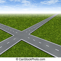Crossroad Decision Dilemma with two roads crossing as a...