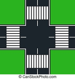 four-way intersection with crosswalk