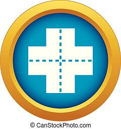Crossroad icon blue vector isolated