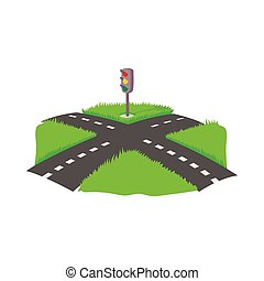 Crossroad icon, cartoon style