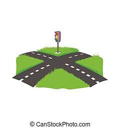 Crossroad icon, cartoon style