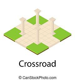 Crossroad icon, isometric style