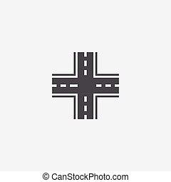 crossroad icon, on white background