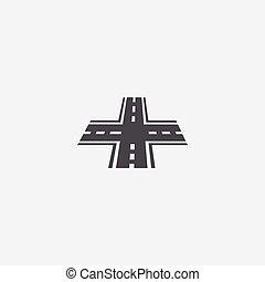 crossroad icon, on white background.