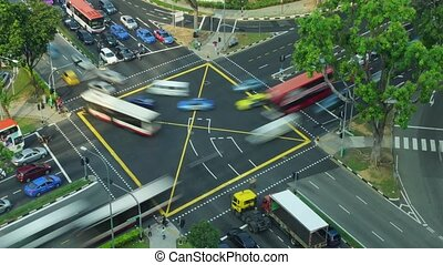 Crossroad in big city - Time-lapse of crossroad in Singapore...