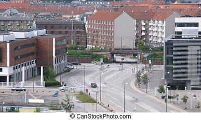 Crossroad in Copenhagen Nordhavnen district, time lapse