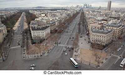 crossroad near Triumphal Arch in Paris, France