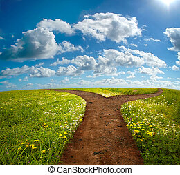 Crossroad on Hill - Crossroad in rural landscape on meadow...