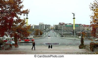 Crossroad on riverside and bridge above Vltava, Prague