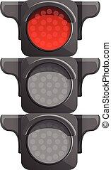 Crossroad semaphore red light icon, cartoon style