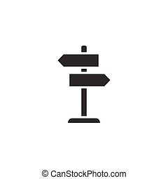 Crossroad signpost icon in flat style. Road direction vector illustration on white isolated background. Roadsign business concept.