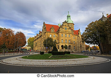 Crossroad with transport and vintage buildings in Bamberg