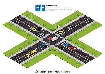 Crossroads and road markings isometric vector illustration for infographics. Transport car, urban and asphalt, traffic. Crossing Roads.