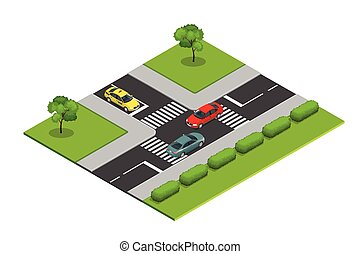 Crossroads and road markings isometric vector illustration for infographics. Transport car, urban, traffic. Crossing Roads.