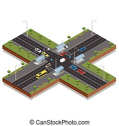 Crossroads and road markings isometric vector illustration. Transport car, urban and asphalt, traffic. Crossing Roads Road Intersection with pedestrian subway.