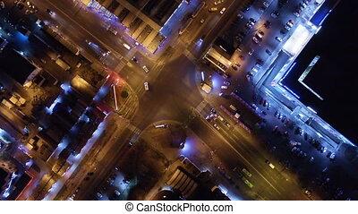 crossroads, antena, prospekt miasta, noc