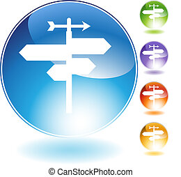 crossroads crystal icon isolated on a white background.