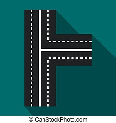 Crossroads icon in flat style