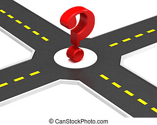 Crossroads of roads with a question mark