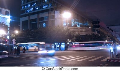 crossroads, przejście, ludzie, iść, pieszy