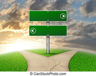 Crossroads road sign. Green grass, fork in the way and sky as backdrop