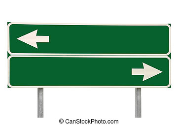 Crossroads Road Sign Two Arrow Green Isolated