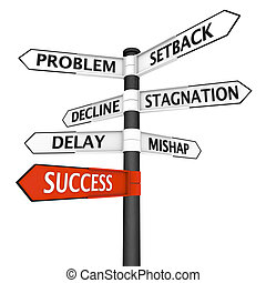 Crossroads sign with direction to success