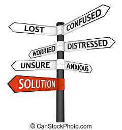 Crossroads sign with solution